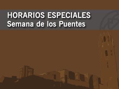 HORARIOS ESPECIALES SEMANA DE LOS PUENTES